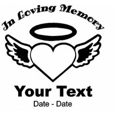 Heart and Wings Memory Decal