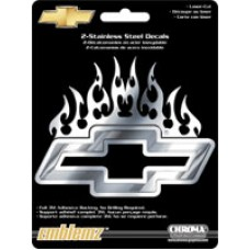 Stainless Flaming Chevy Bowtie Decal Car Badge