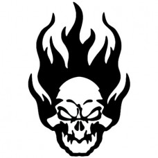 Flaming Skull 3 Vinyl Sticker