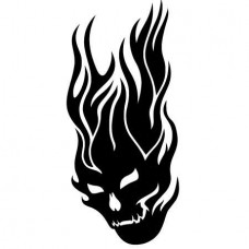Flaming Skull 5 Vinyl Sticker