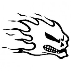 Flaming Skull 9 Decal