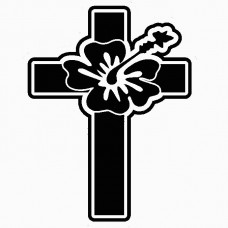 Cross Hawaiian Flower Wall Decal