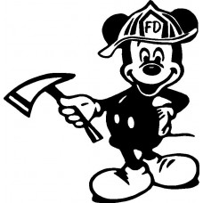 Firefighter Mickey Mouse Diecut Decal