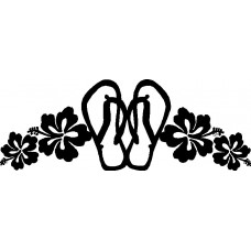 Flip Flop Flower Vinyl Wall Decal