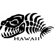 Hawaii Skeleton Fish Wall Decal